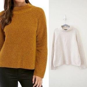 Eileen Fisher Tweed Mock Neck Sweater Cream